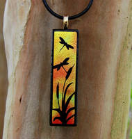 Sunset Dragonfly Fused Glass