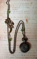 Flower Sprig Watch Necklace by FusedElegance