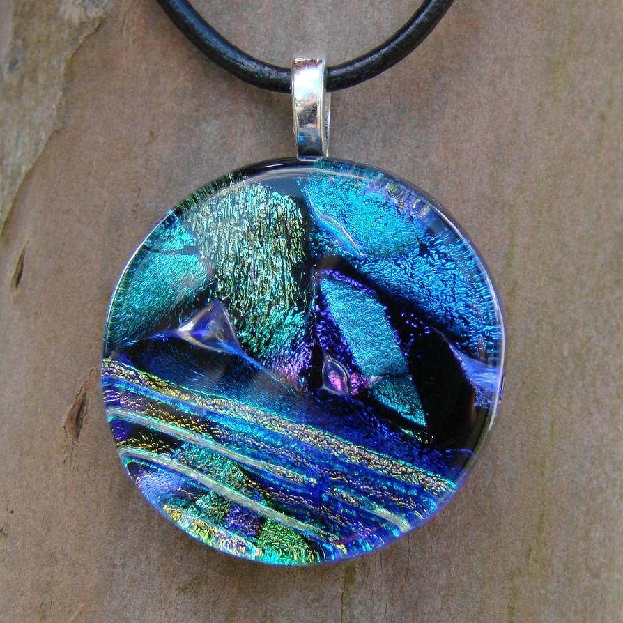 glass unique fired fused dichroic jewellery fullxfull kiln gift rainbow necklace handmade il listing pendant