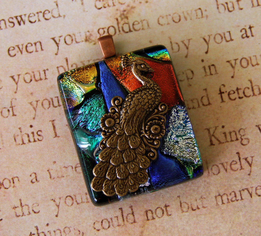 Peacock Strut Glass Pendant by FusedElegance