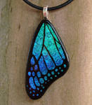 Teal Blue Glass Butterfly Wing