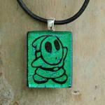 Green Shy Guy Glass Pendant