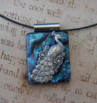 Blue Peacock Strut Fused Glass