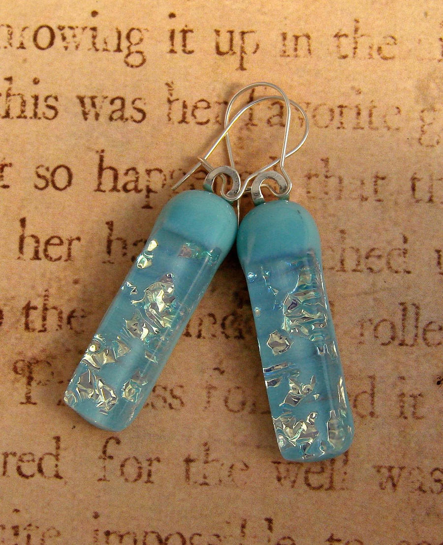 Blue Shimmering Glass Earrings by FusedElegance