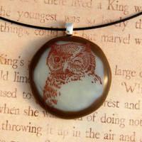 Vintage Owl Fused Glass Pendant by FusedElegance