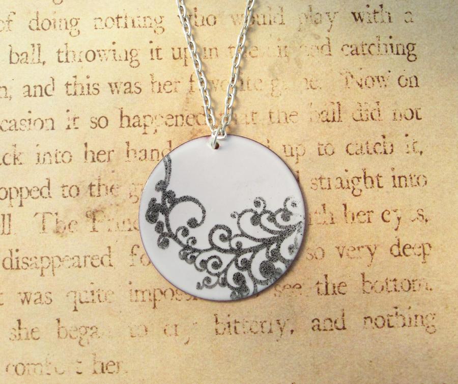 Elegant Swirls Hand Torched Enamel Necklace by FusedElegance