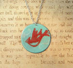Cardinal's Flight Hand Torched Enamel Necklace