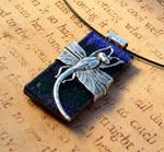 Dark Blue Purple Dragonfly Wrap Glass Pendant