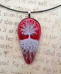 Red Sky Tree of Life Fused Glass Pendant