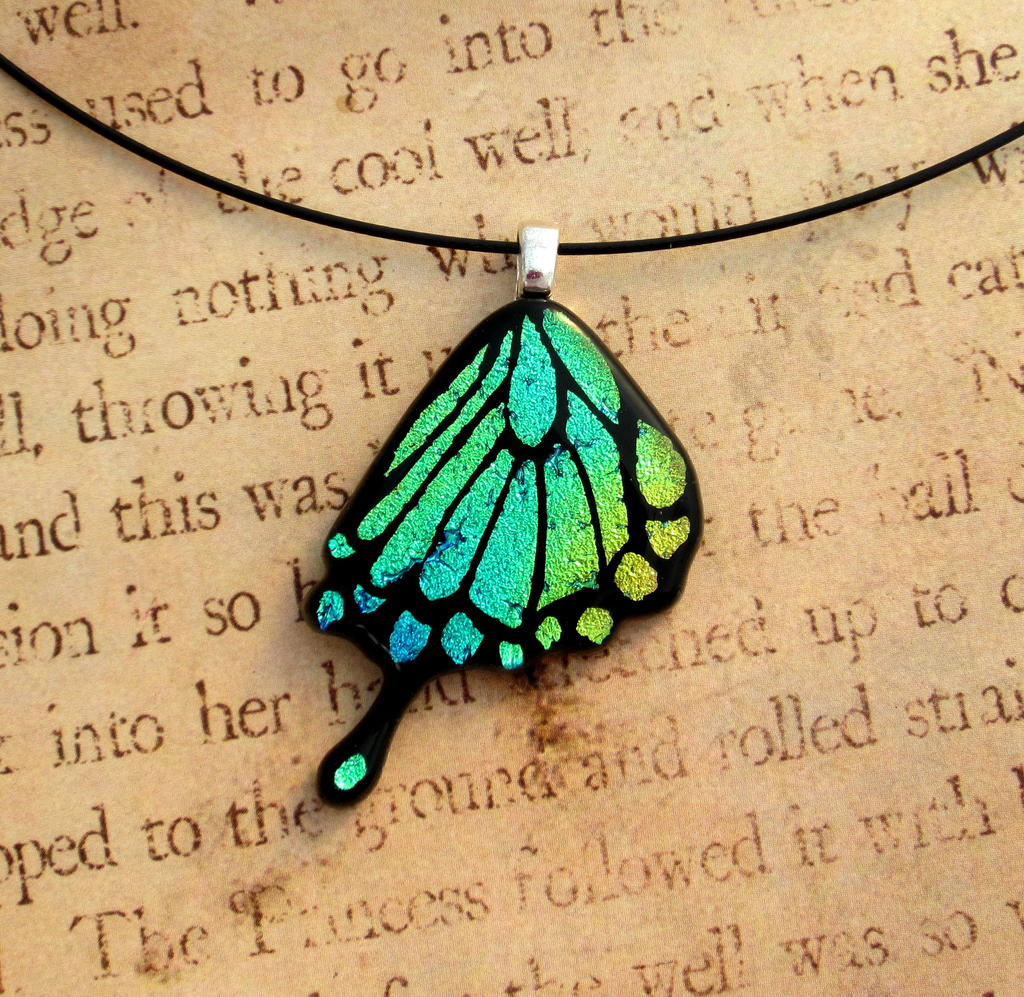 Swallowtail Wing Fused Glass Blue Green by FusedElegance