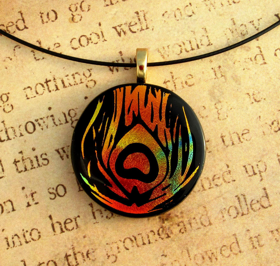 Phoenix Feather Fused Glass Pendant by FusedElegance