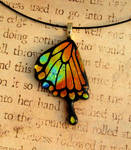 Fiery Swallowtail Wing Fused Glass Pendant