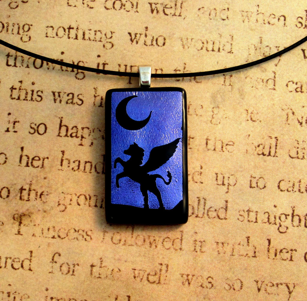 Pegasus Night Fused Glass Pendant by FusedElegance