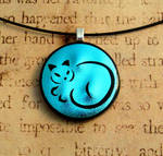 Calligraphy Cat Fused Glass Pendant Blue