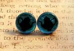 Teapot Fused Glass Earrings Light Blue
