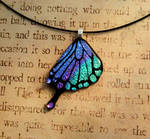 Swallowtail Butterfly Wing Purple Teal Mix Glass