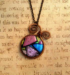 Whimsical Wrap Fused Glass Wire Wrapped Necklace