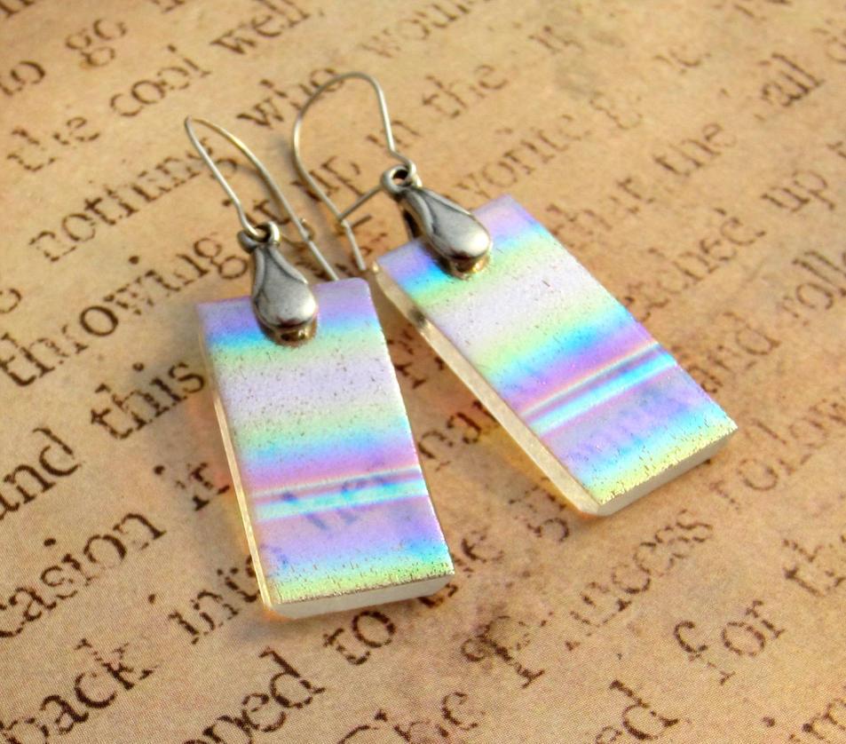 Rainbow Aurora Earrings Fused Glass by FusedElegance