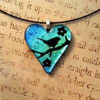 Bird in Blossoms Fused Glass Heart Pendant Bl/Gr