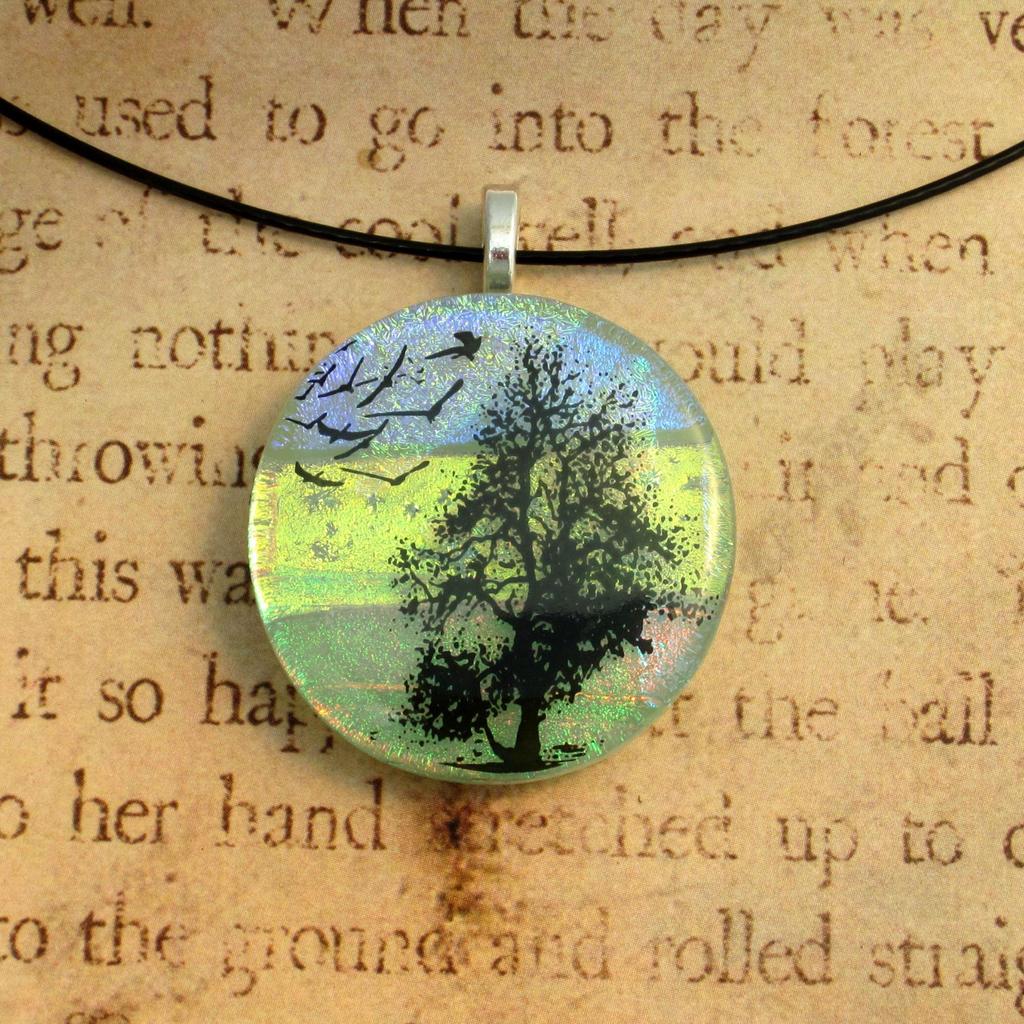 Jade Fields Tree of Life Fused Glass Pendant by FusedElegance