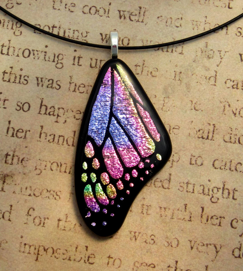 Butterfly Wing Fused Glass Pink Purple Mix Pendant by FusedElegance