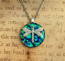 Dragonfly Pond Fused Glass Necklace by FusedElegance