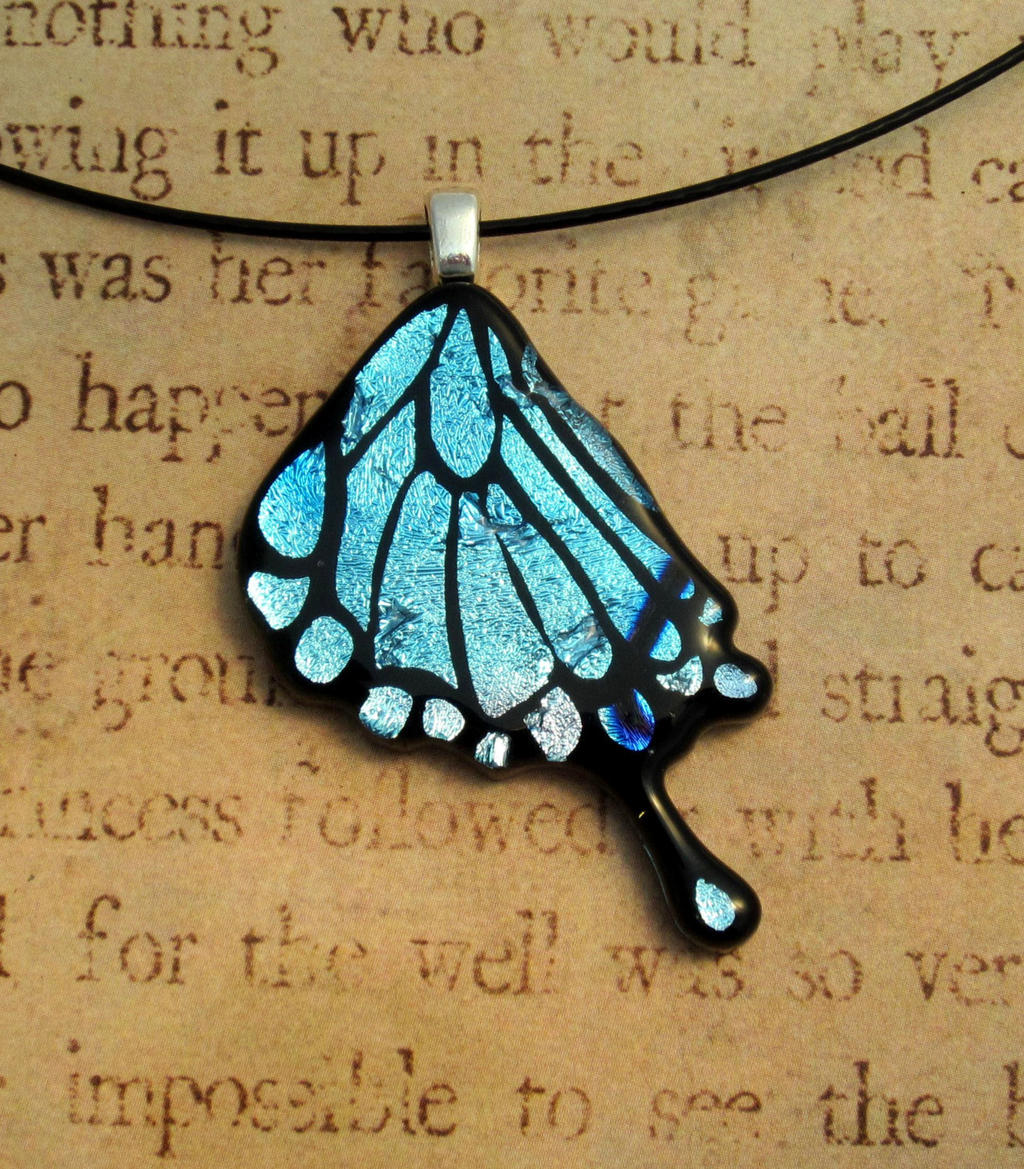 Blue Mix Swallowtail Wing Pendant Fused Glass by FusedElegance