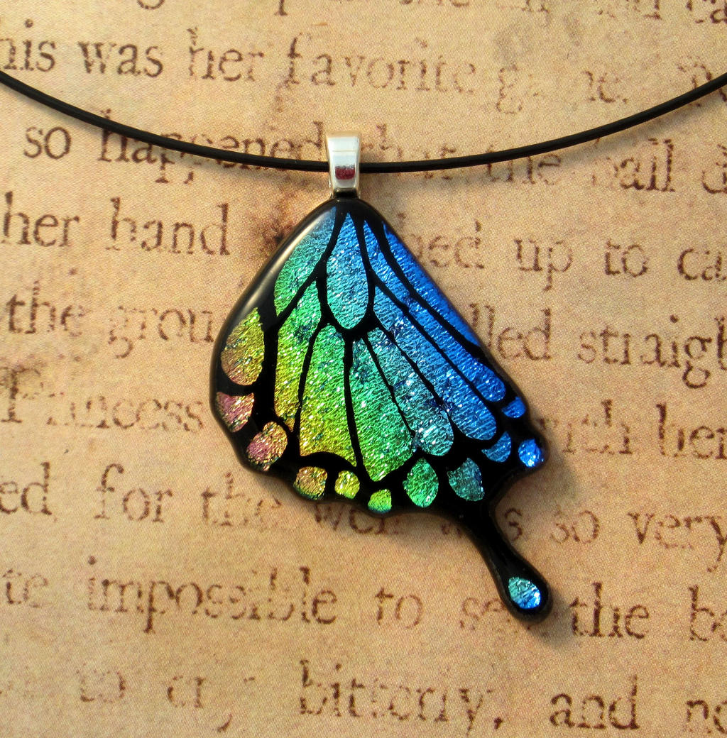 Rainbow swallowtail wing fused glass pendant by fusedelegance on rainbow swallowtail wing fused glass pendant by fusedelegance mozeypictures Gallery