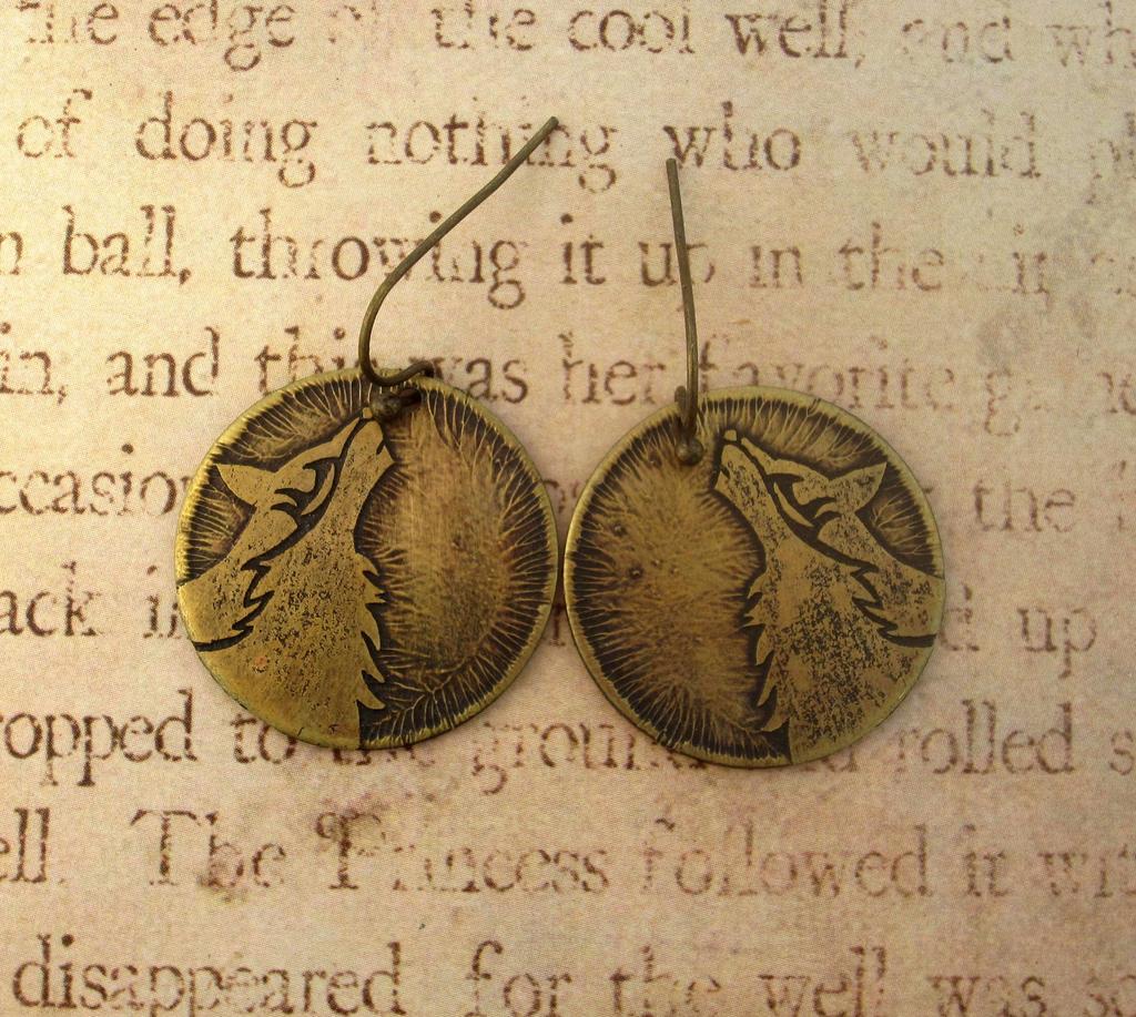 Tribal Howling Wolf Brass Earrings by FusedElegance