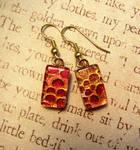 Fire Scale Fused Glass Earrings