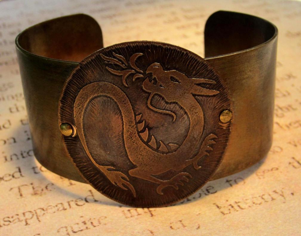 Fire Dragon Brass Bracelet Cuff by FusedElegance