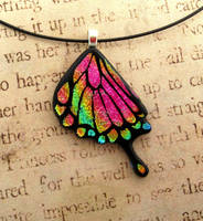 Bright Pink Rainbow Swallowtail Wing Glass by FusedElegance