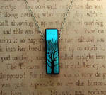 Bail Free Tree of Life Pendant Necklace Blue