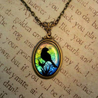Rainbow Bird Fused Glass Necklace by FusedElegance