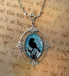 Silver Blue Bird Fused Glass Necklace