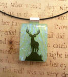 Stag Deer Fused Glass Pendant Necklace