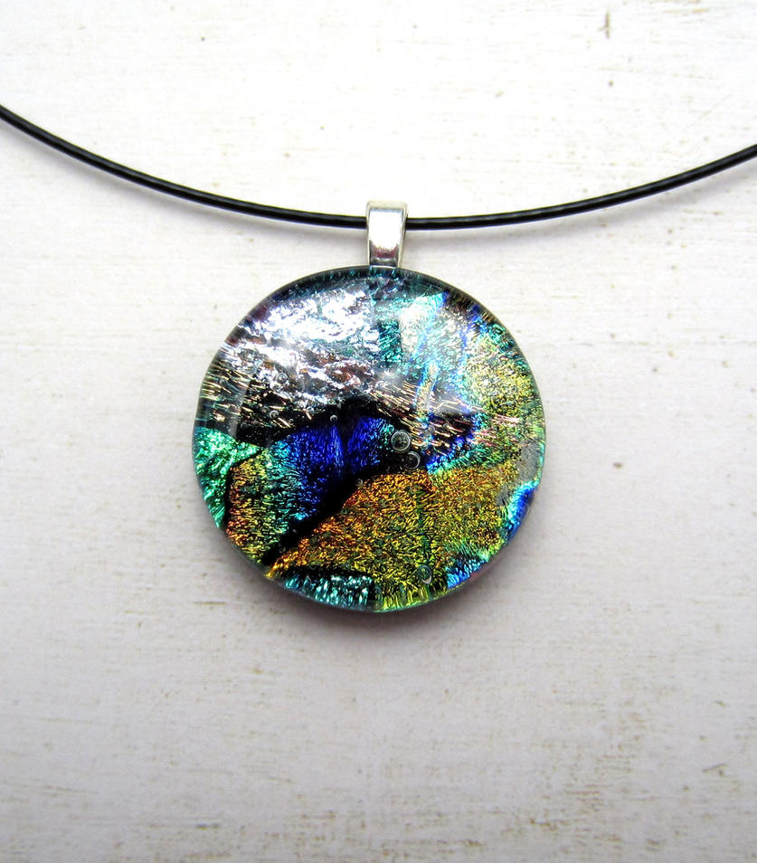 Galaxy Collage Fused Glass Necklace Pendant by FusedElegance