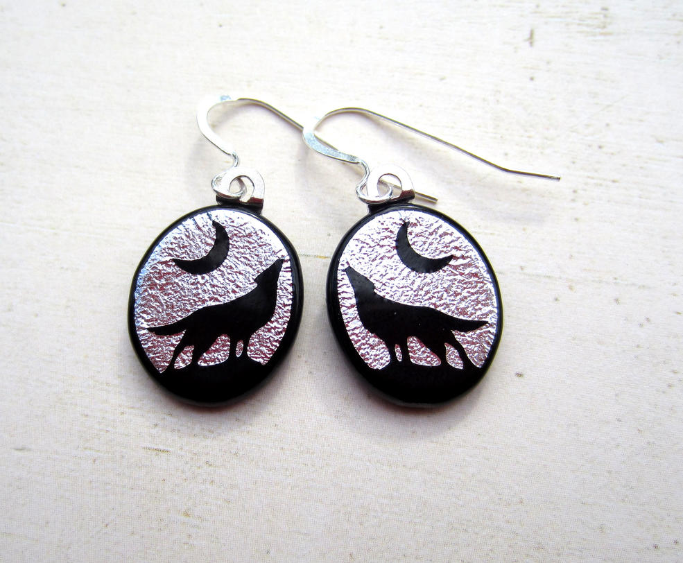 Wolf How Fused Glass Earrings Silver by FusedElegance
