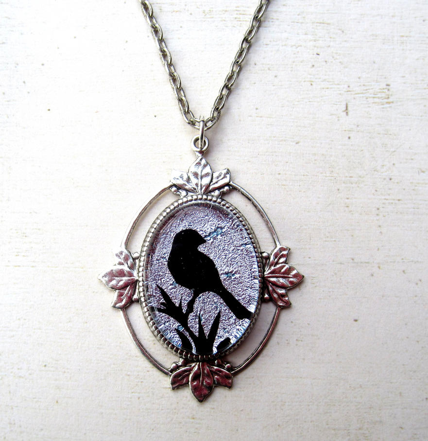 Silver Bird Fused Glass Necklace by FusedElegance