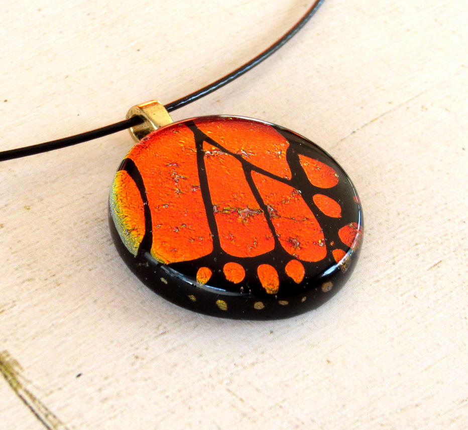 Fused Glass Monarch Wing Section Necklace Pendant by FusedElegance