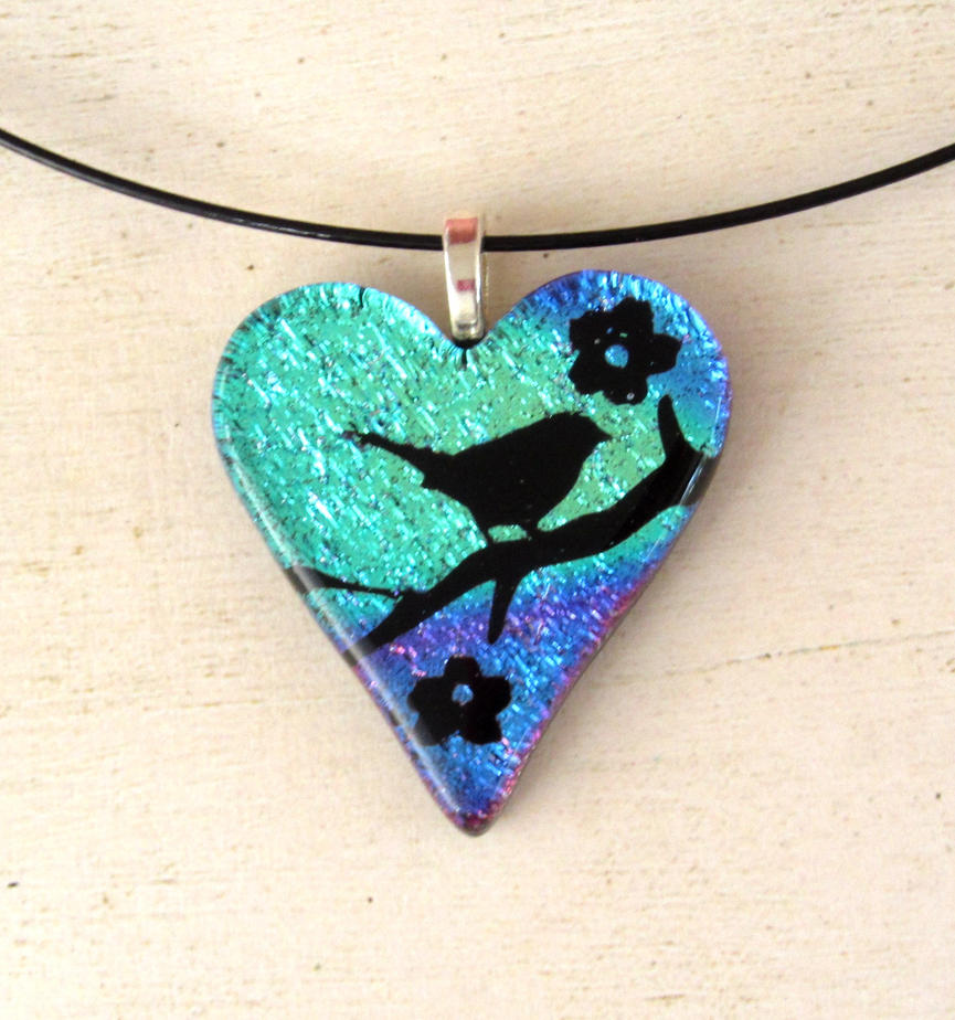 Bird in Blossoms Fused Glass Heart Pendant Bl/Pur by FusedElegance