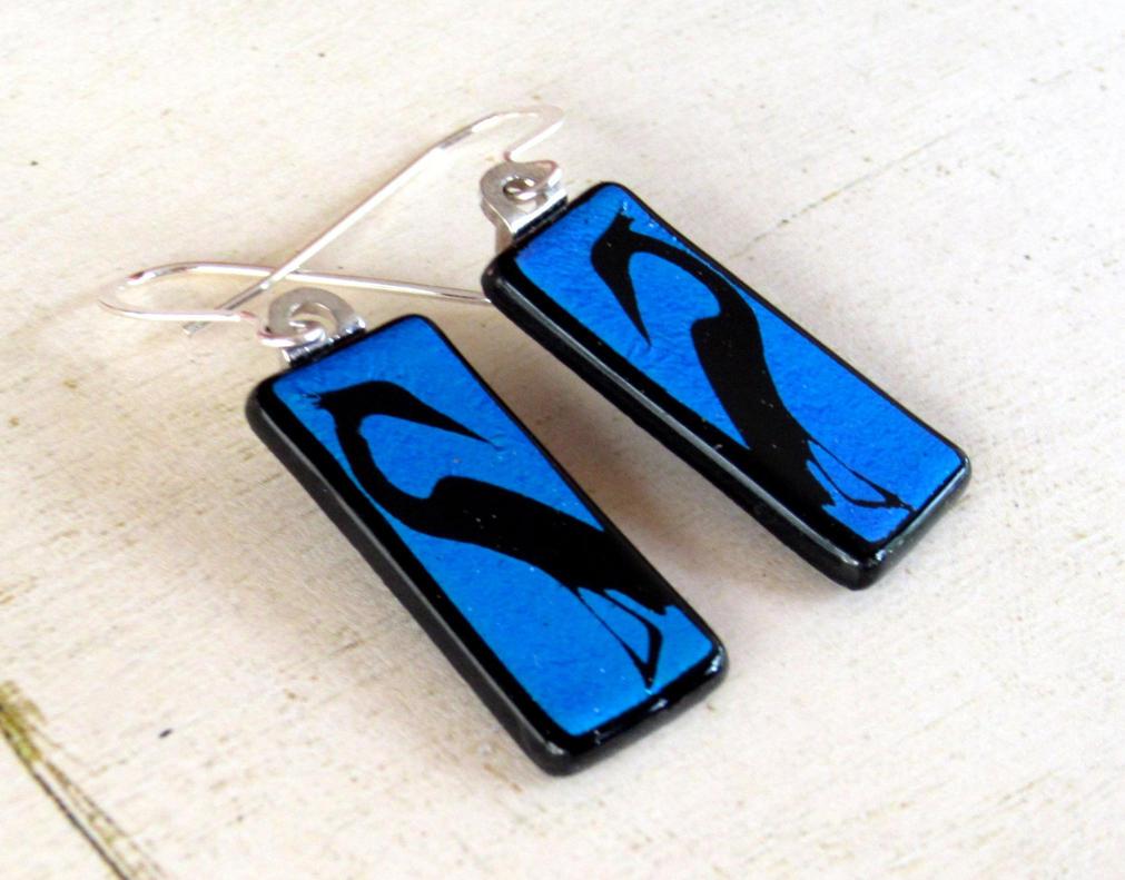 Blue Egret Fused Glass Earrings by FusedElegance