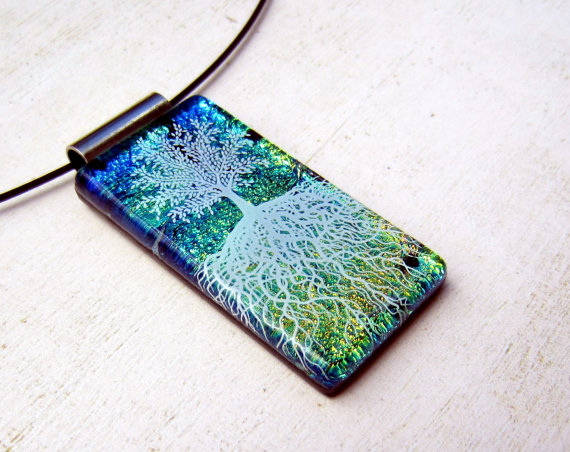 Tree of Life Green White Fused Glass Art Pendant by FusedElegance