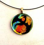 Dragon Flight Sunset Fused Glass Pedant Necklace