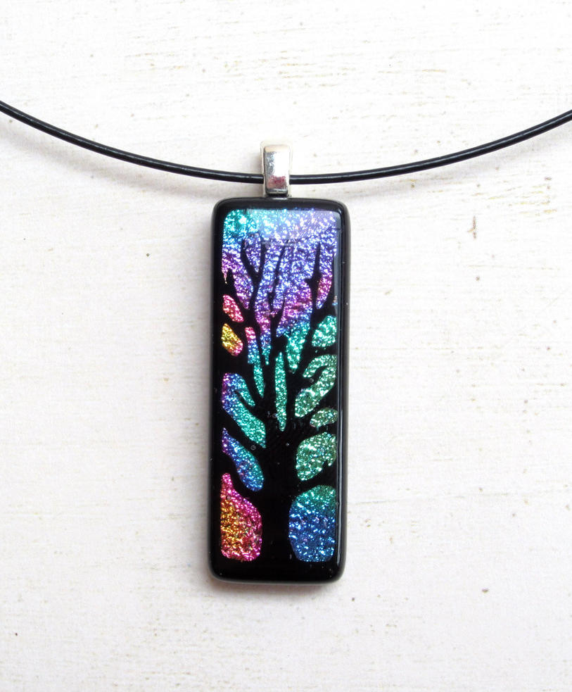 Tree of Life Fused Glass Long Pendant Rainbow by FusedElegance