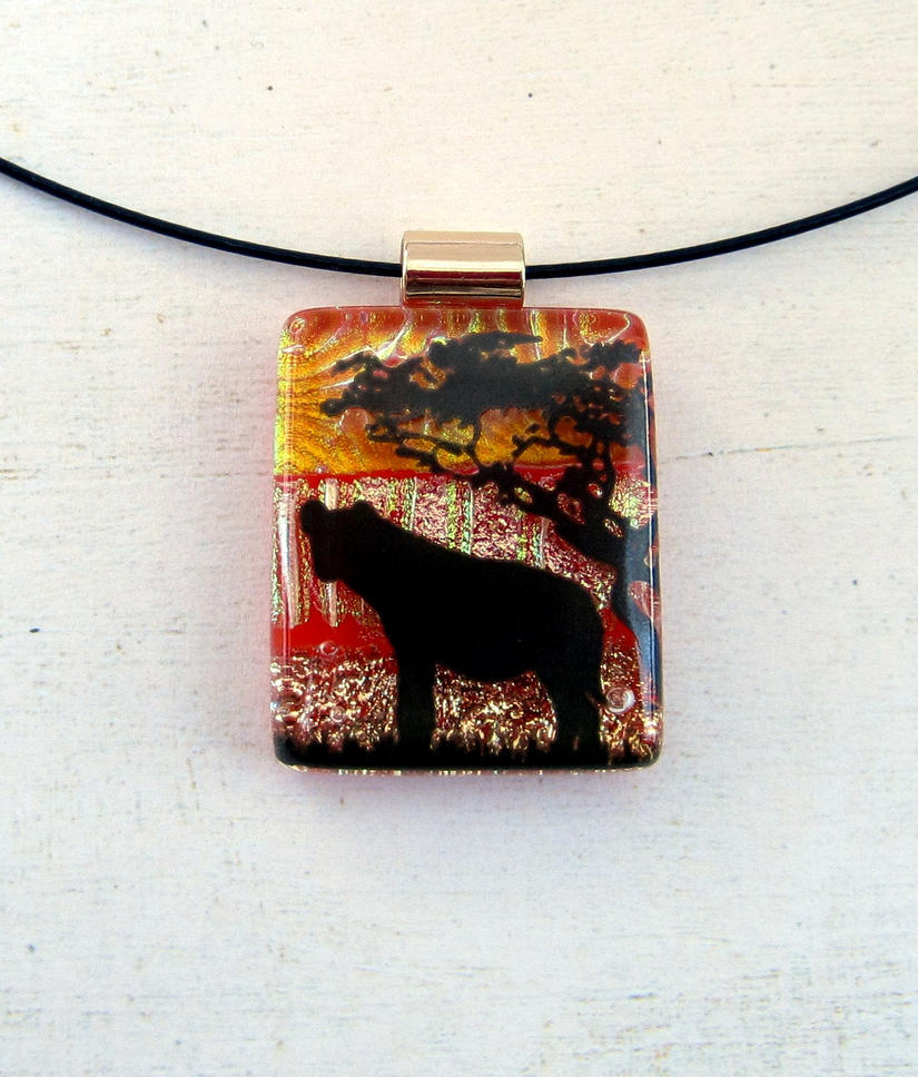 Hyena Sunset Fused Glass Necklace Pendant by FusedElegance