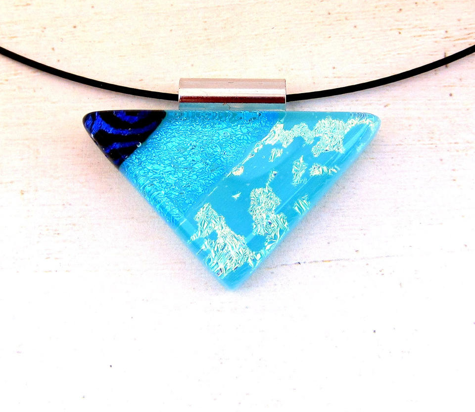 Blue Collage Triangle Fused Glass Pendant by FusedElegance