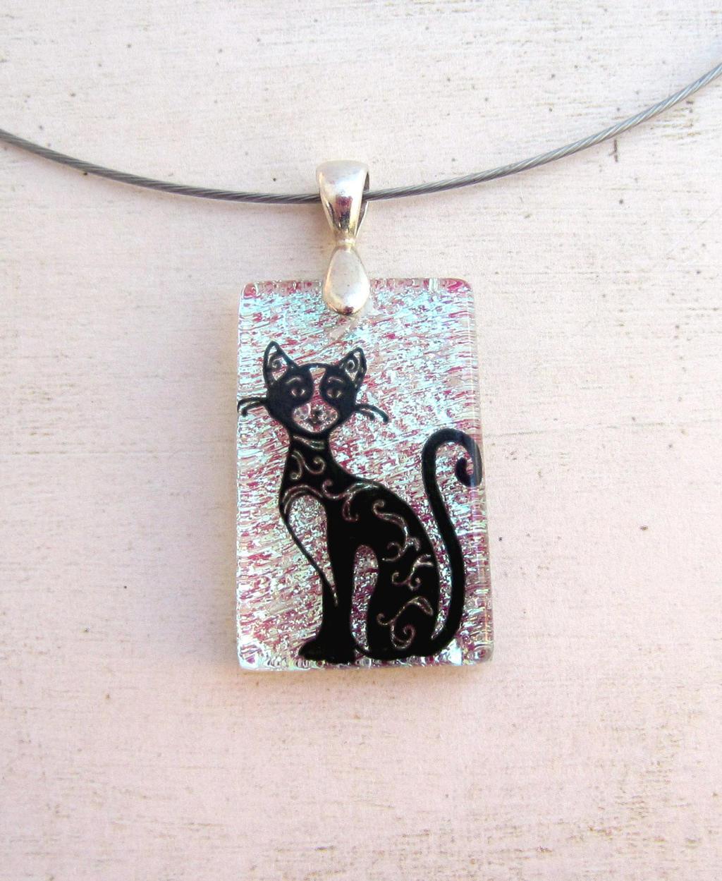 Fancy Cat Fused Glass Translucent Pendant