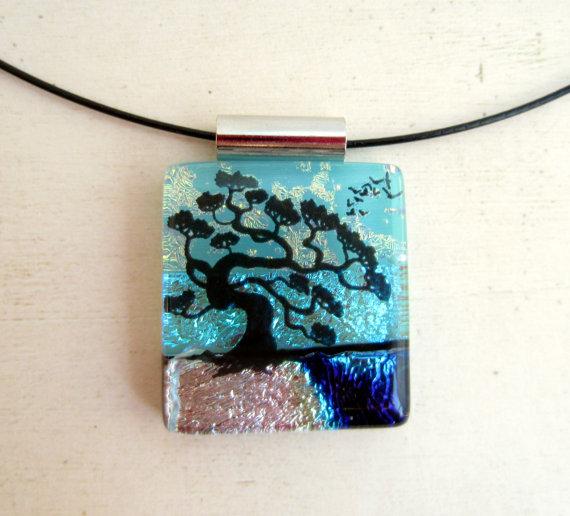 Bonsai Tree Fused Glass Jewelry Necklace Pendant