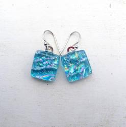 Blue Waters Fused Glass Earrings